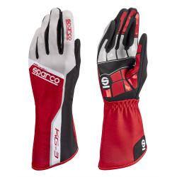 Rukavice Sparco Track KG-3 (vnitřní šití) červeno/ bílá