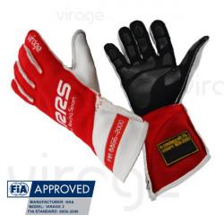 Rukavice RRS Virage 2 s FIA homologací (vnější šití) červené