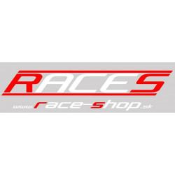 Nálepka RACES www.race-shop.sk 11 x 47 cm - červeno / bílá