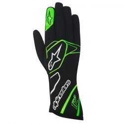 Rukavice Alpinestars Tech 1 K bez FIA homologace - černo-bílo-zelené