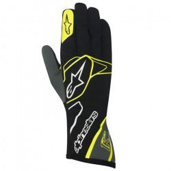 Rukavice Alpinestars Tech 1 K bez FIA homologace - černo-bílo-žluté