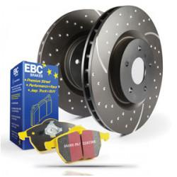 Přední sada EBC PD13KF085 - Brzdové kotúče Turbo Grooved + brzdové dosky Yellowstuff