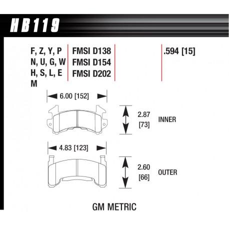 Brzdové desky HAWK performance Přední brzdové destičky Hawk HB119E.594, Race, min-max 37 ° C-300 ° C | race-shop.cz