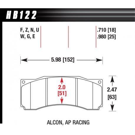 Brzdové desky HAWK performance Přední brzdové destičky Hawk HB122U.710, Race, min-max 90 ° C-465 ° C   race-shop.cz