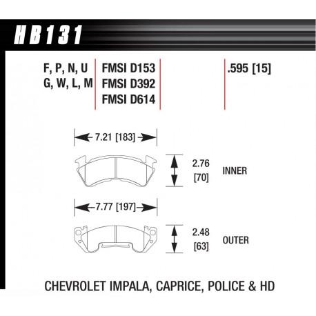 Brzdové desky HAWK performance Přední brzdové destičky Hawk HB131F.595, Street performance, min-max 37 ° C-370 ° C   race-shop.cz