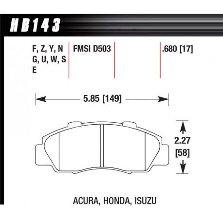 Brzdové desky HAWK performance Přední brzdové destičky Hawk HB143U.680, Race, min-max 90 ° C-465 ° C | race-shop.cz
