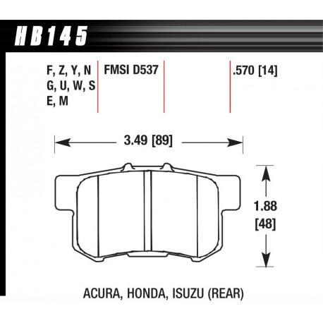 Brzdové desky HAWK performance Zadní brzdové destičky Hawk HB145S.570, Street performance, min-max 65 ° C-370 °   race-shop.cz