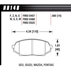 Predné brzdové dosky Hawk HB148G.560, Race, min-max 90°C-465°C