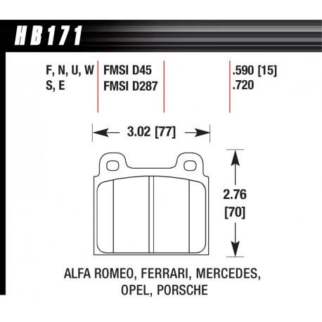 Brzdové desky HAWK performance Přední brzdové destičky Hawk HB171E.590, Race, min-max 37 ° C-300 ° C   race-shop.cz