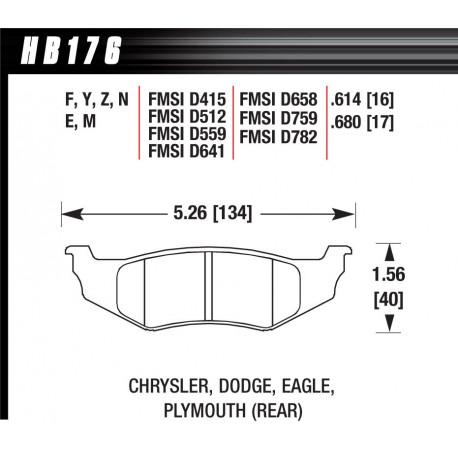 Brzdové desky HAWK performance Zadní brzdové destičky Hawk HB176N.614, Street performance, min-max 37 ° C-427 ° C   race-shop.cz