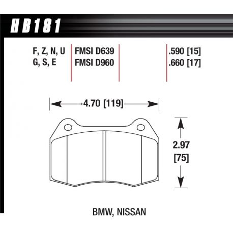 Brzdové desky HAWK performance Přední brzdové destičky Hawk HB181U.660, Race, min-max 90 ° C-465 ° C   race-shop.cz