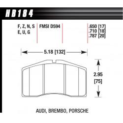 Přední brzdové destičky Hawk HB184S.710, Street performance, min-max 65 ° C-370 °