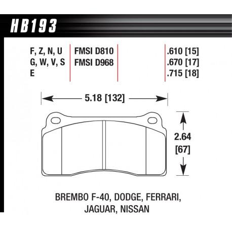 Brzdové desky HAWK performance Zadní brzdové destičky Hawk HB193Z.670, Street performance, min-max 37 ° C-350 ° C   race-shop.cz