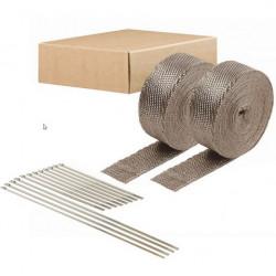 Termo izolační páska na svody a výfuk DEI 2szt. - 5 cm x 15 m Titanium + stahovací pásky