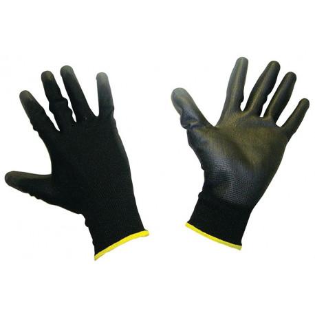 Ochranné rukavice - mechanik Polomáčené polyesterové pracovní rukavice - černé   race-shop.cz