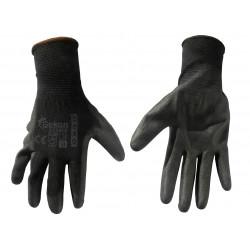 Bavlněné polomáčené polyesterové pracovní rukavice - černé
