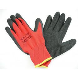 Bavlněné polomáčené polyesterové pracovní rukavice - černo červené