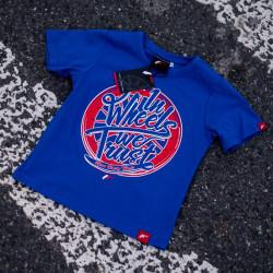 """Tričko JAPAN RACING """"In wheels we trust"""" detské, Modrá barva"""