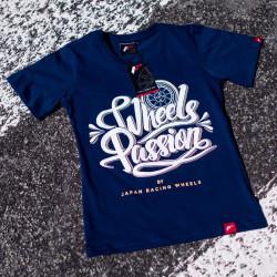 Tričko JAPAN RACING Wheels Passion ženské, Námořnicky modrá barva