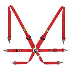 FIA 6 bodové bezpečnostní pásy OMP One 3+2 convertible červené